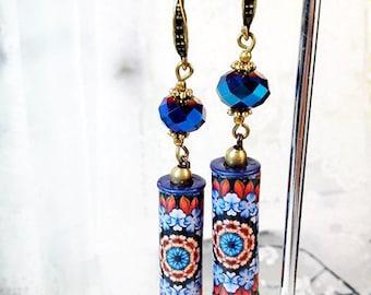 European Tile Design Blue Purple Paper Tube Beads Dangle Antique Bronze Hook Earrings