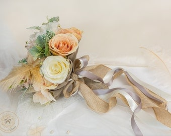 Peach flowers, floral bouquet, rustic flowers, wedding flowers, fern, woodland bouquet, feather bouquet, silk flowers, statement bouquet