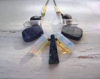 Blue Druzy, Opalite, and Lapis Lazuli Stone Bib Necklace - Antique Brass Chain - 24-inch Layering Necklace