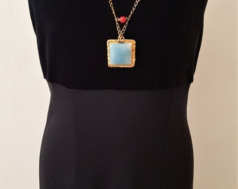 New Listing Sale... Gorgeous Designer Aqua Amazonite Gold Necklace from Israel. Gold Hammered Necklace. Israel Jewelry