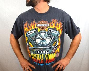 Vintage 1996 90s Harley Davidson Fire Biker Motorcycle Tee Shirt Tshirt
