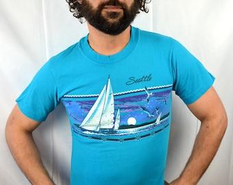 Vintage 90s 1991 Seattle Sailboat Blue Tshirt Tee Shirt