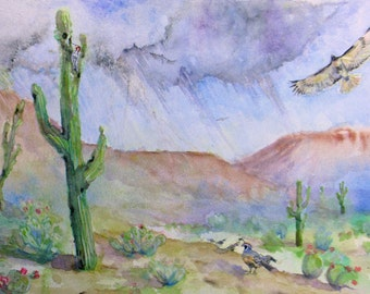 original desert bird watercolor painting, southwest wildlife art,wall decor, hawk, quail, woodpecker watercolor art, home decor