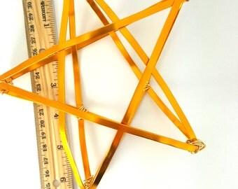 "Gold Star Tree Topper -  metal star handmade tree topper - medium - golden 6.5"" wired"