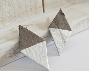 Handpainted Gray and Silver Leather Kite Earrings