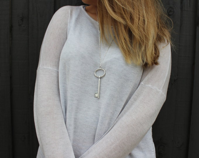 Large Silver Key Necklace in Silver.