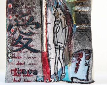 Original Fiber Art 14x14 - Mixte Media Textile  Painting - Fantastic  Contemporary Art - Free standing or Freehanging Art - Reversible Art