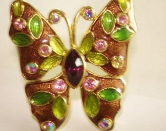 Butterfly Multi Color Rhinestone Gold Tone  Brooch