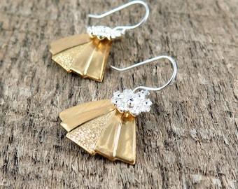 Art Deco Fan Earrings, Triangle Earrings, Silver Flower Earrings, Silver and Gold Jewelry, Christmas Gift