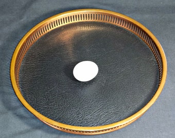 Coppercraft Guild Serving Tray / MCM Copper & Faux Leather Round Serving Tray