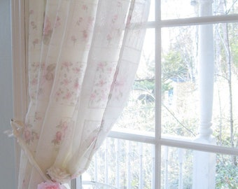 Shower Curtain Roses, Shower Curtain, Shabby Roses, Romantic Home, Shabby French Vintage, by mailordervintage on etsy
