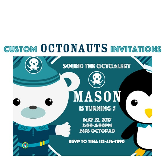 Octonauts Birthday Invitation Custom Sea Animals Party 5x7