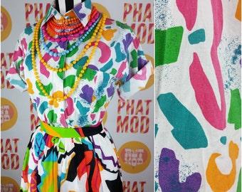 Vintage 90s Multicolor Rainbow Abstract Print Cotton Button Down Blouse Top Shirt!