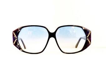 90s Carlo Capucci Sunglasses Women's Vintage 1990's Black with Blue Marble Pattern & Jewels Frames Blue Lenses #M608 DIVINE