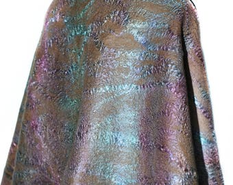 Handmade Felted Scarf Long Felt Wrap Multicolor OOAK Felt Gift Earthy Color Fashion Accessory