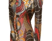 Vintage 60s 70s Metallic Maxi Dress Swirling Lame' Print 34 bust 26 waist front slit