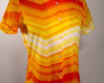 Vintage 70s Vera Blouse M 34 36 bust Orange Yellow Signature in print