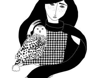Girl with Snowy Owl
