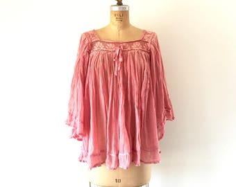 Vintage 1970s Cotton Gauze Crepe Top Bell Sleeve Shirt Pink Crochet Blouse M/L