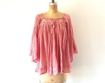 Vintage 1970s Cotton Gauze Crepe Top Bell Sleeve Shirt Pink Crochet Blouse M/L