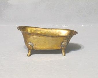 Miniature Lacquered Brass Bathtub Soap Dish / Tiny Old Fashion Claw Foot Bath Tub Dollhouse Furniture, Small Soapdish Retro Bathroom Decor