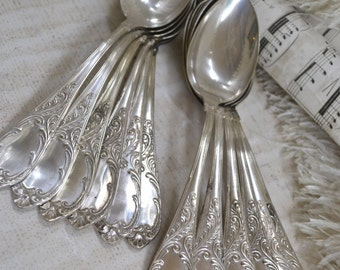 French Silver Plated Dessert Spoon Set of 12 - French Silverware, French Faded Romance-Matching Set