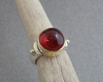 Red Tourmaline Ring in 18k Gold and Sterling, Cherry Red Gemstone