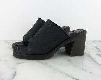 DKNY Vintage Black Leather Slip On Heels Peep Toe Mules Sandals DKNY Jeans Official Uniform of New York