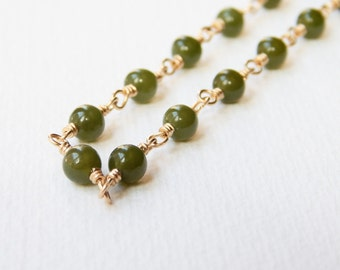 Nephrite Jade Necklace - Gold Filled Beaded Rosary Necklace Beadwork Necklace Ball Chain Rosary Chain Greenery Green Jade Beads