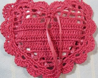 """Pink 4""""X4"""" Heart Sachet-'Passion Melon' Fragrance-Rose Pink Heart Sachet-Hand Crocheted-Herbal-Cotton and Satin-Cindy's Loft-335"""