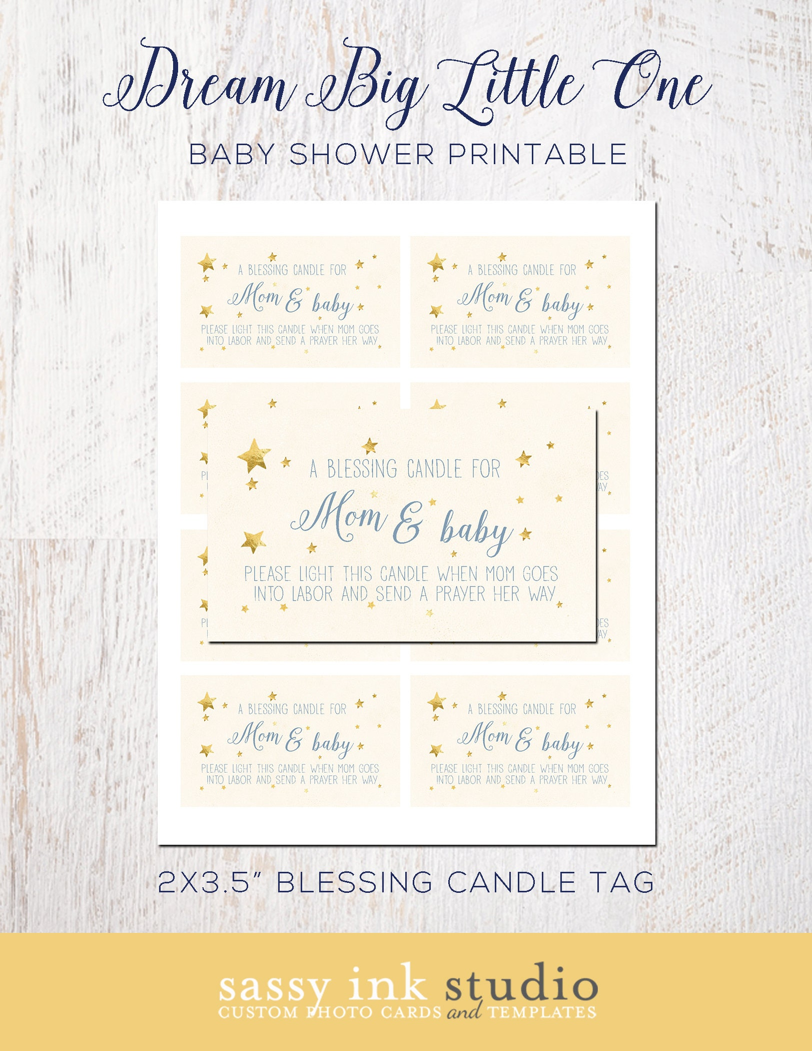 Baby Shower Favor Tag Printable Blessing Tag Dream Big