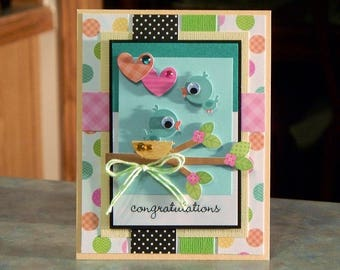 Handmade Congratulations Baby Card Features Sweet Bluebirds with Google Eyes
