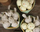 seasonal: spring- hand-stitched wool felt bunnies and/or chicks in basket by kata golda