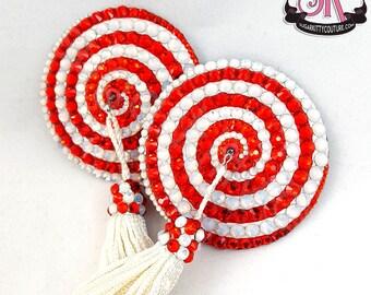 Spiral Swirl Round Rhinestone Nipple Pasties - SugarKitty Couture