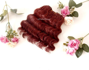 doll hair Wefted mohair wavy hair dark burgundy reroot custom Blythe Doll pullip wig waldorf wefted hair BJD curly doll hair mohair wig