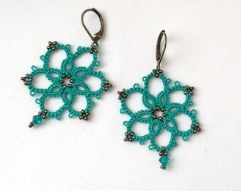 Teal Lace Earrings-Tatted Lace-Beaded Jewelry-Romantic Earrings-Victorian Style Bridesmaid Earrings-Attendant Gift-Wedding Lace-Bridesmaids