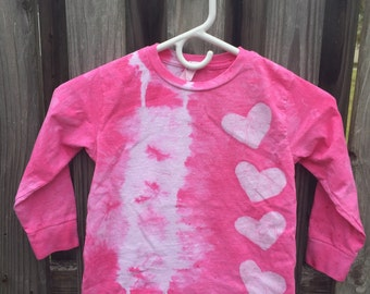 Girls Tie Dye Shirt, Pink Hearts Shirt, Kids Tie Dye Shirt, Batik Kids Shirt, Girls Heart Shirt, Long Sleeve Shirt, Pink Girls Shirt (4/5)
