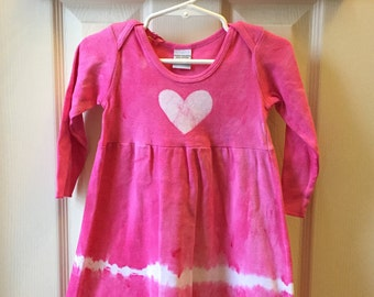 Pink Baby Dress, Pink Hearts Dress, Baby Girl Dress, Pink Hearts Dress, Tie Dye Baby Dress, First Birthday Gift (12 months)