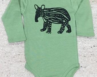 Baby Tapir Long Sleeve Bodysuit Organic Green