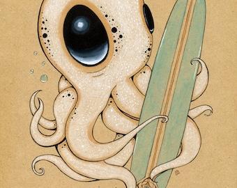Surf's Up Original fine art Giclee Print Pop Surreal Octopus ocean
