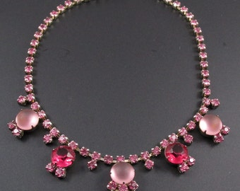 Pink Rhinestone Necklace, Pink Necklace, Pink Cabochon Necklace, Prom Necklace, Bridal Necklace