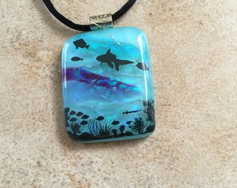 Fused Glass Pendant, Swimming, Dichroic Necklace, Fused Jewelry, Ocean, Nature, Fish