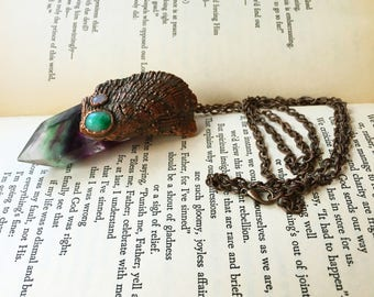 Electroformed Shell Mermaid Necklace, Treasure Necklace, Crystal Mermaid Jewelry, Oxidized Copper Jewelry, Fluorite Crystal Point Necklace