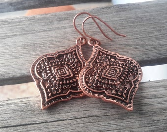 Eastern Inspired Copper Dangles - Bohemian Diamond with Evil Eye