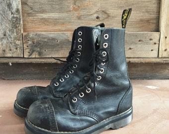 Vintage well-worn Made in England Dr Martens UK Size 4 US Women Size 6 10 eyelet black  Doc Martens boot, women's combat boot, vintage Docs
