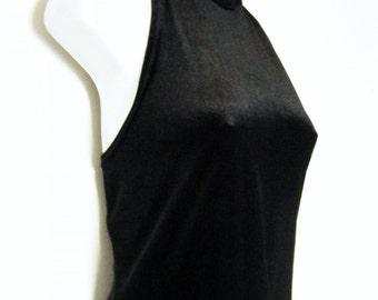 1990s All That Jazz black STRETCH VELVET Bodycon CHOKER Mini Dress, size m