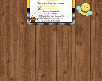 Bumble Bee Baby Shower Invitation, Yellow Black Invitation, Mom to Bee Invitation
