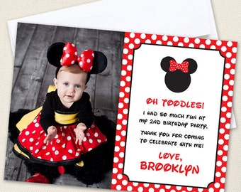 Minnie Mouse Photo Thank You Cards (Red) - Professionally printed *or* DIY printable