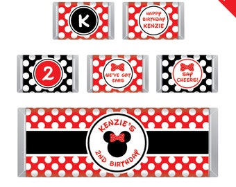 Red Minnie Mouse Party - Personalized DIY printable Hershey bar labels
