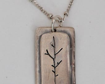 Sterling Silver TREE Pendant with LIVE the Life You LOVE stamped on the back with Sterling chain